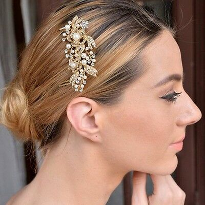 Bridal Wedding Hair Comb Pearl Diamante Crystal Rhinestone Gold Clip Slide Tiara