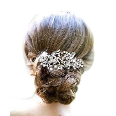 Bridal Wedding Hair Comb Pearl Diamante Crystal Rhinestone Silver Slide Tiara