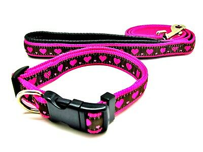 Rosewood Wag N Walk Adjustable Pink hearts Nylon Dog Collars and Leads ALL SIZES
