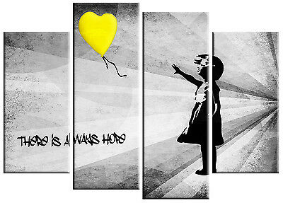 Extra Large Banksy Girl Yellow Balloon Canvas Picture Yellow Grey
