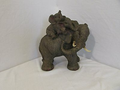 """Mother Elephant & 2 Baby Calves On Back Decorative Statue Figure 10"""" Tall"""