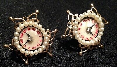 Clock Face Pearls Crystal Gold Butterfly Accents Clip on Screw Back Earrings Vtg