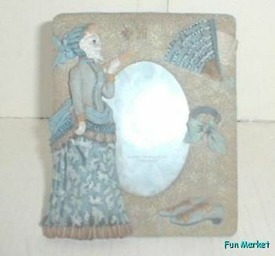 Victorian Style White Cat Dressed in Blue Picture Frame
