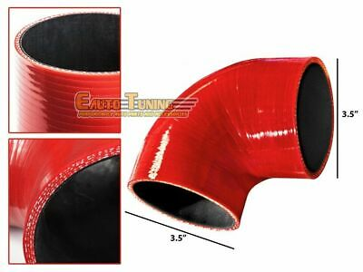 "3.5"" Silicone Hose/Intercooler Pipe Elbow Coupler RED For Jeep/Land Rover"
