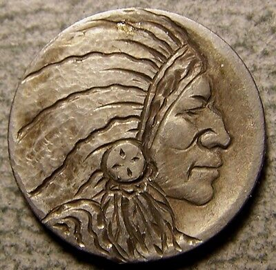 """Hobo Nickel, Engraved, Carved ,Scrimshaw,Coin Art, """" The  CHIEF  OPP,.."""""""