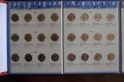 2007-2016 Presidential 1$ P&D Complete 39 Coin Set & Colorful Whitman Folder