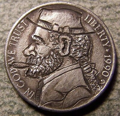 """Hobo Nickel, Engraved, Carved ,Scrimshaw,Coin Art, """" MOTOWN  MARTY ,.."""""""