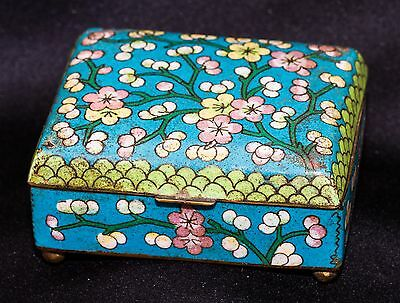 Antique Chinese Blue & Green Cloisonne Hinged Footed Trinket Box~Floral Motif