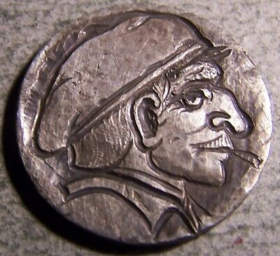"""Hobo Nickel, Engraved, Carved ,Scrimshaw,Coin Art, """"  the PARTISAN ,.."""""""