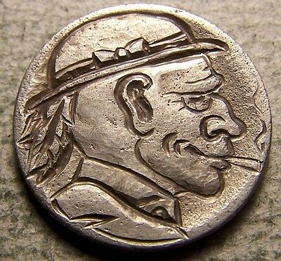 """Hobo Nickel, Engraved, Carved ,Scrimshaw,Coin Art, """"  TOLEDO BOB  3 FEATHERS  """""""