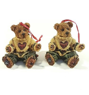 Boyds Bears Friends Bearstone Collection Lot Of 2 Ornaments Le 97 Twin Boys
