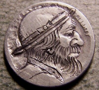 """Hobo Nickel, Engraved, Carved ,Scrimshaw,Coin Art, """"  ROUGH TIMES.. """""""