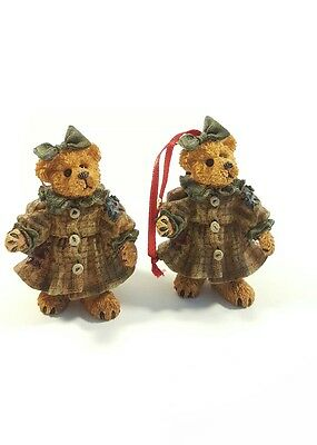 Boyds Bears Friends Bearstone Collection Lot Of 2 Ornaments Le 97 Twin Girls