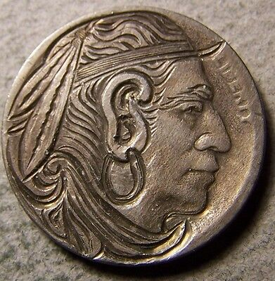 """Hobo Nickel, Engraved, Carved ,Scrimshaw,Coin Art, """"  The VISIONARY, .. """""""