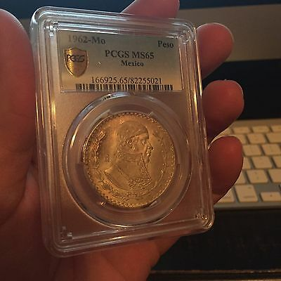 1962-Mo MEXICO SILVER PESO PCGS MS65 MEXICAN MORELOS! LOW POP! FREE SHIPPING!