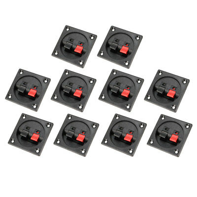 10pcs Red Black Push In Type 2 Position  Square Speaker Terminal Board