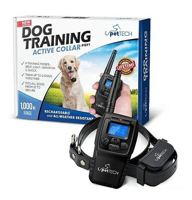 Pet Tech Dog Training Active Collar (PT0Y1) 1000ft Range For Dogs 10-100lbs