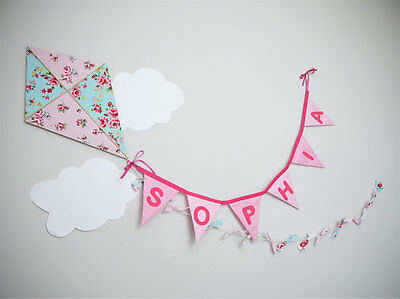 Personalised Kite wall hanging, nursery wall art, baby shower gift, name banner.