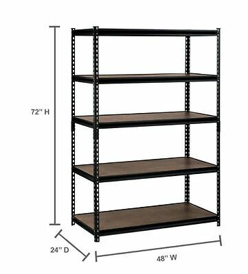 Edsal 72 in H x 48 in W x 24 in D 5-Shelf Steel Commercial Shelving Unit Black
