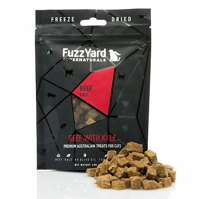 10x Fuzzyard Supernaturals Beef & Kale 40G Natural Cat Kitten Treats