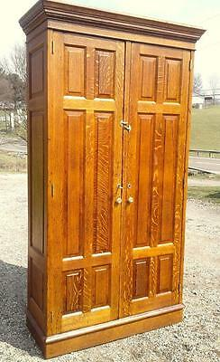Antique Tiger Oak Stripe 2 Door Storage Cabinet w 16 Cubbies Industrial C 1910