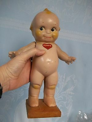 """Antique Kewpie, Rose O'neill , Doll 11.5"""" On Wood Base, Composition"""