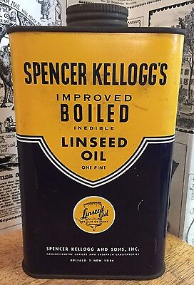 Vintage Spencer Kellogg's Boiled Linseed Oil Can - Gas Station & Oil Advertising