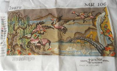 Vintage Completed Penelope Japanese Tsuru Cranes Tapestry Suit Craft Upcycle
