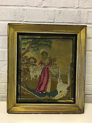 Antique English Silk Embroidered Embroidery Needlework Picture Woman w/ 2 Sheep
