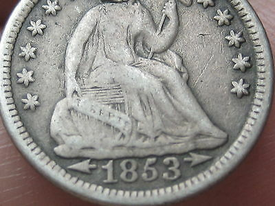 1853 Seated Liberty Half Dime With Arrows- VG/Fine Details