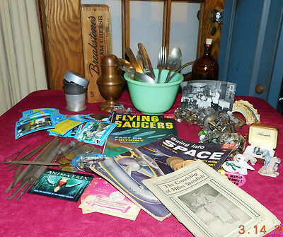Junk Drawer Antique, Estate and collectable mixed lot 6! ET cards! No Reserve!!