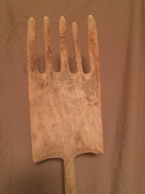 "Antique primitive farm tool wood hay fork (Original single carved 68"" piece)"