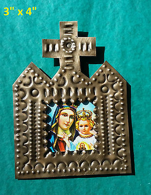 Bendicion Mexican Handmade Tin 3x4 Cross Picture Blessed Mother and Child