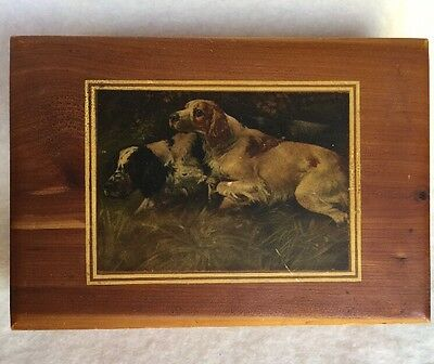 Vintage Wooden Box With Springer Brittany Spaniel Bird Dog Decal
