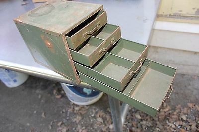 Vtg Small Industrial 4 Drawer Metal Cabinet Box Organizer Parts !