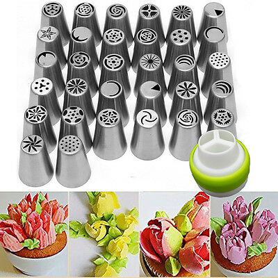 32Pcs Russian Flower Icing Piping Nozzle Cake Cupcake Decoration Tips Tools Set