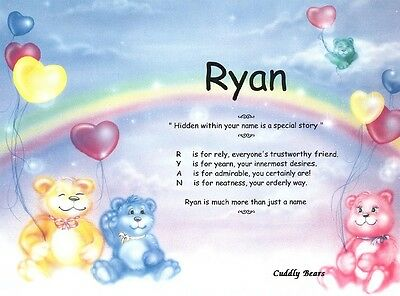 Cuddly Bears Personalized Nursery Baby Shower Name Meaning Gift Idea Print