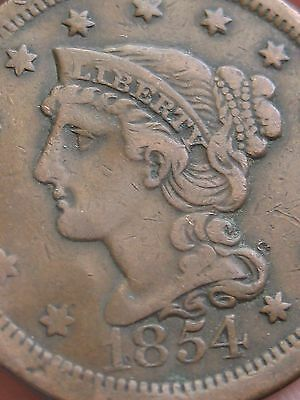 1854 Braided Hair Large Cent, VF/XF Obverse Details