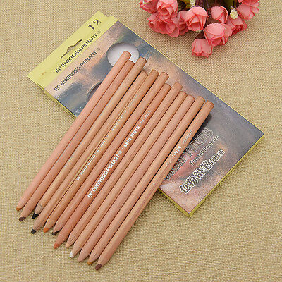 12 Colors Skin Tints Pastel Pencils Art Student Stationery Drawing Supplies New