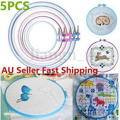 5Pcs Plastic Cross Stitch Hoop Ring Embroidery Circle Sewing Kit Frame Craft Set