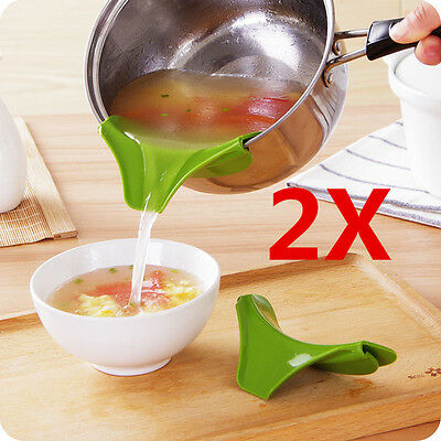 2X Silicone Soup Funnel Kitchen Gadget Tools Water Deflector Cooking Tool New