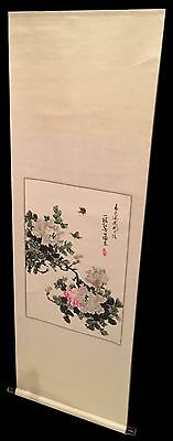 Preowned Chinese Peony Watercolor Painting Scroll
