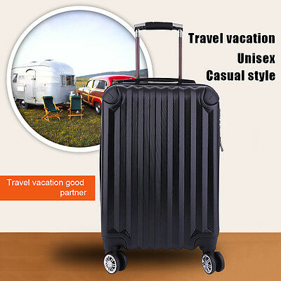 """Newest Expandable 20"""" ABS Carry On Luggage Travel Bag Trolley Suitcase Black USA"""