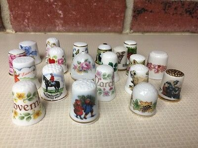 Lot 20 Porcelain THIMBLES Japan Germany Papel Rockwell Heirloom Gorham Kaiser