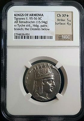 TIGRANES II the GREAT King of Armenia 95-56BC Silver Coin NGC XF* EXTREMELY RARE