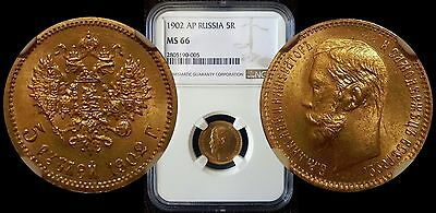 Russia Russian Gold 5 Rubles 1902 Ap Ngc Ms66 Brilliant Unc