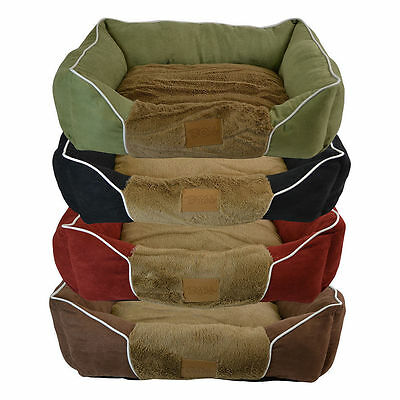 Large Luxury Country Style Rectangle Pet Bed, Anti Slip Soft Fluffy Cat Dog Beds