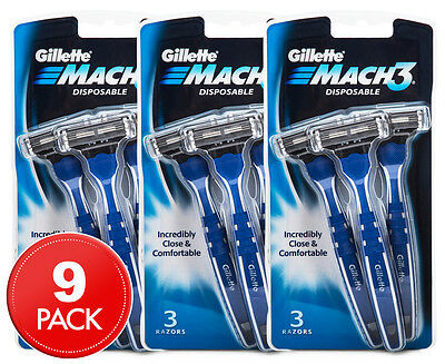 3 x Gillette Mach3 Disposable Razors 3pk
