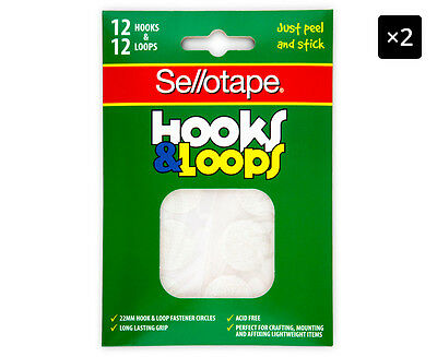 2 x Sellotape Hooks & Loops 24-Pack