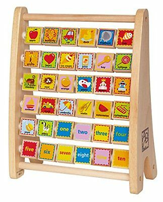 Wooden Counting Toy Alphabet Letters Pictures ABC 123 First Words Learning Baby
